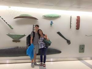 A nice man took our picture in front of this odd mural in Dulles International.